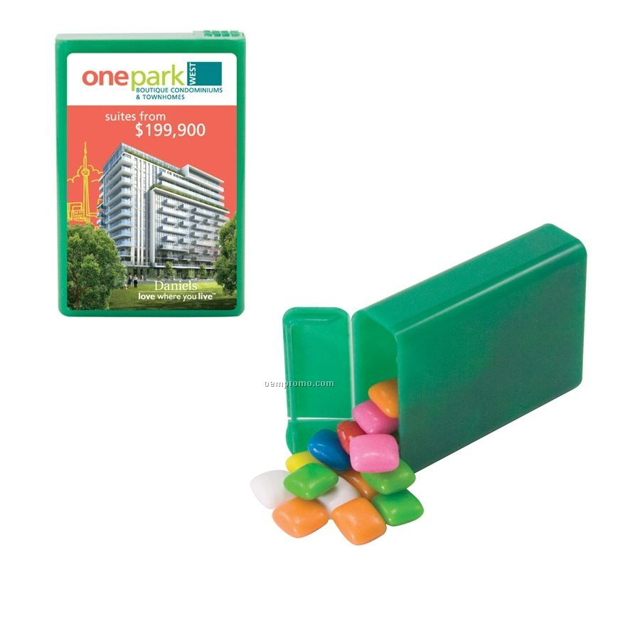 Green Refillable Plastic Mint/ Candy Dispenser With Gum