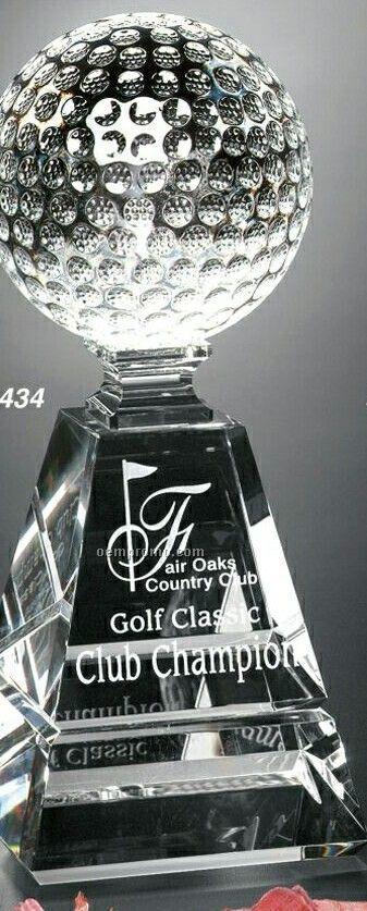 """Sports Gallery Crystal Golf Pyramid Award (10"""")"""