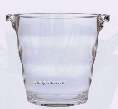 Acrylic Napa Wine Ice Bucket W/ 2 Handles & Ringed Body