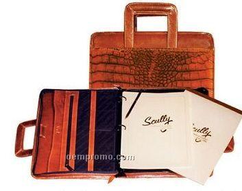 Brown Crocodile Leather Zip Planner Binder W/ Drop Handles