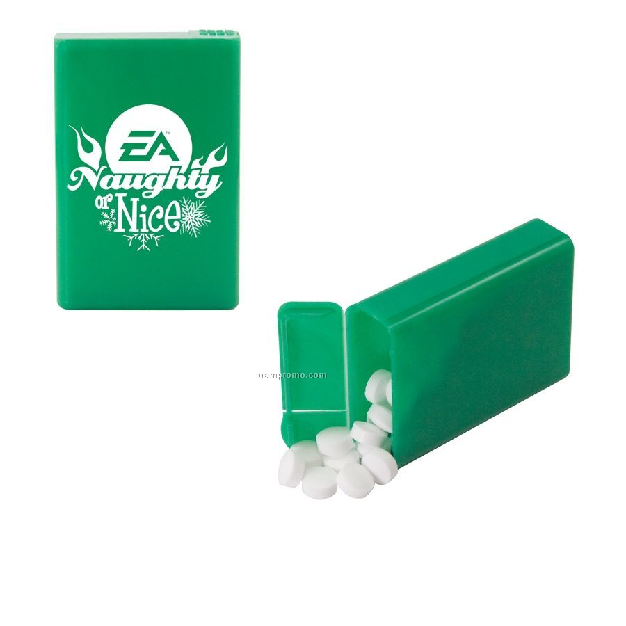 Green Refillable Plastic Mint/ Candy Dispenser With Sugar Free Gum