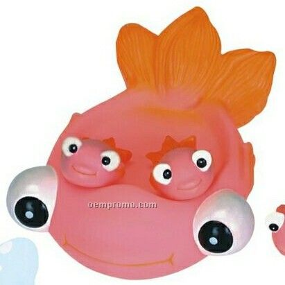 Medium rubber gold fish 4 piece small family toy china for Rubber fish toy