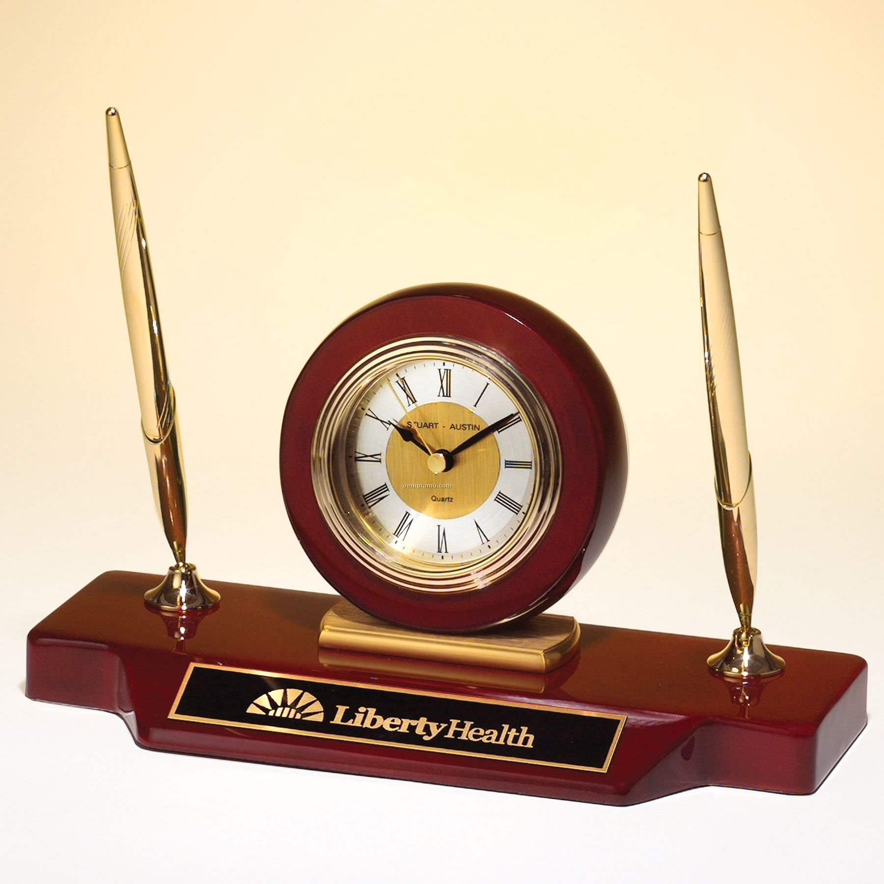 Rosewood Piano Finish Clock With Two Pens