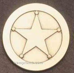 """2"""" Die Struck Emblem (Antique Brass Gold) Aztec Warrior"""