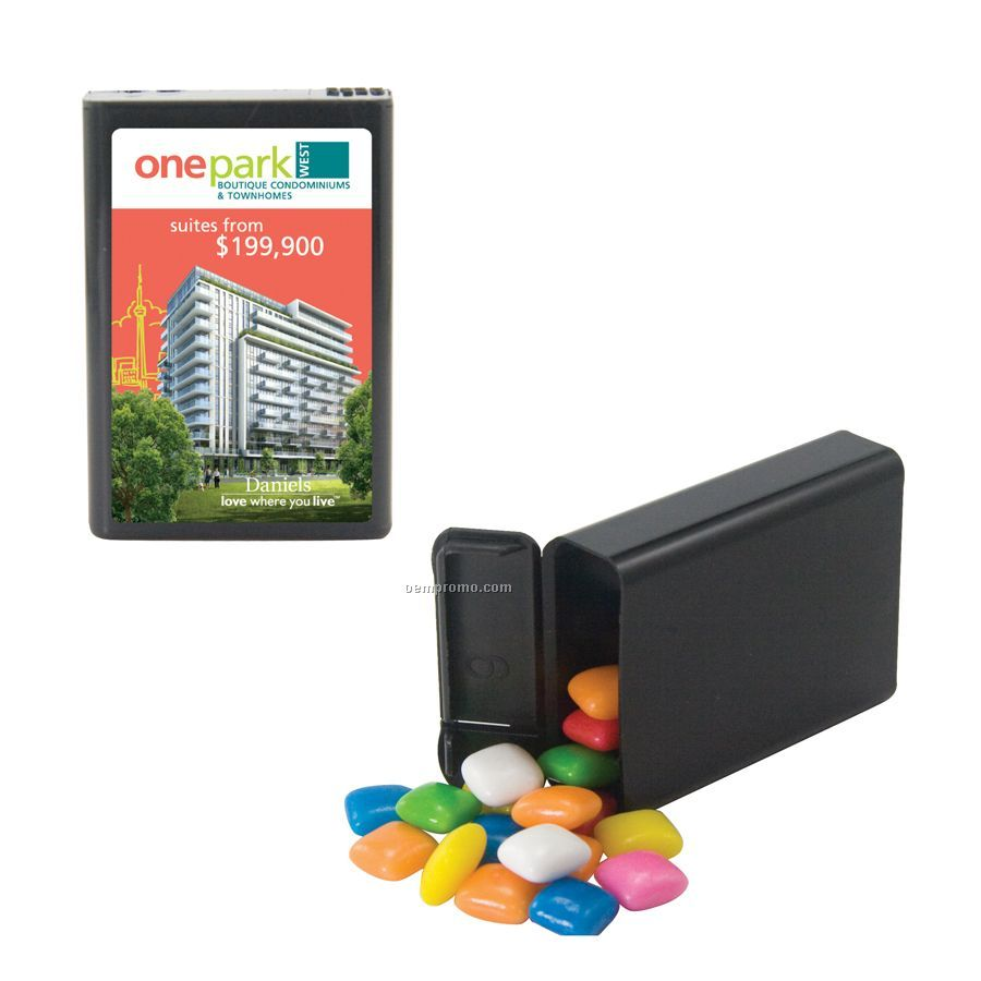 Black Refillable Plastic Mint/ Candy Dispenser With Gum