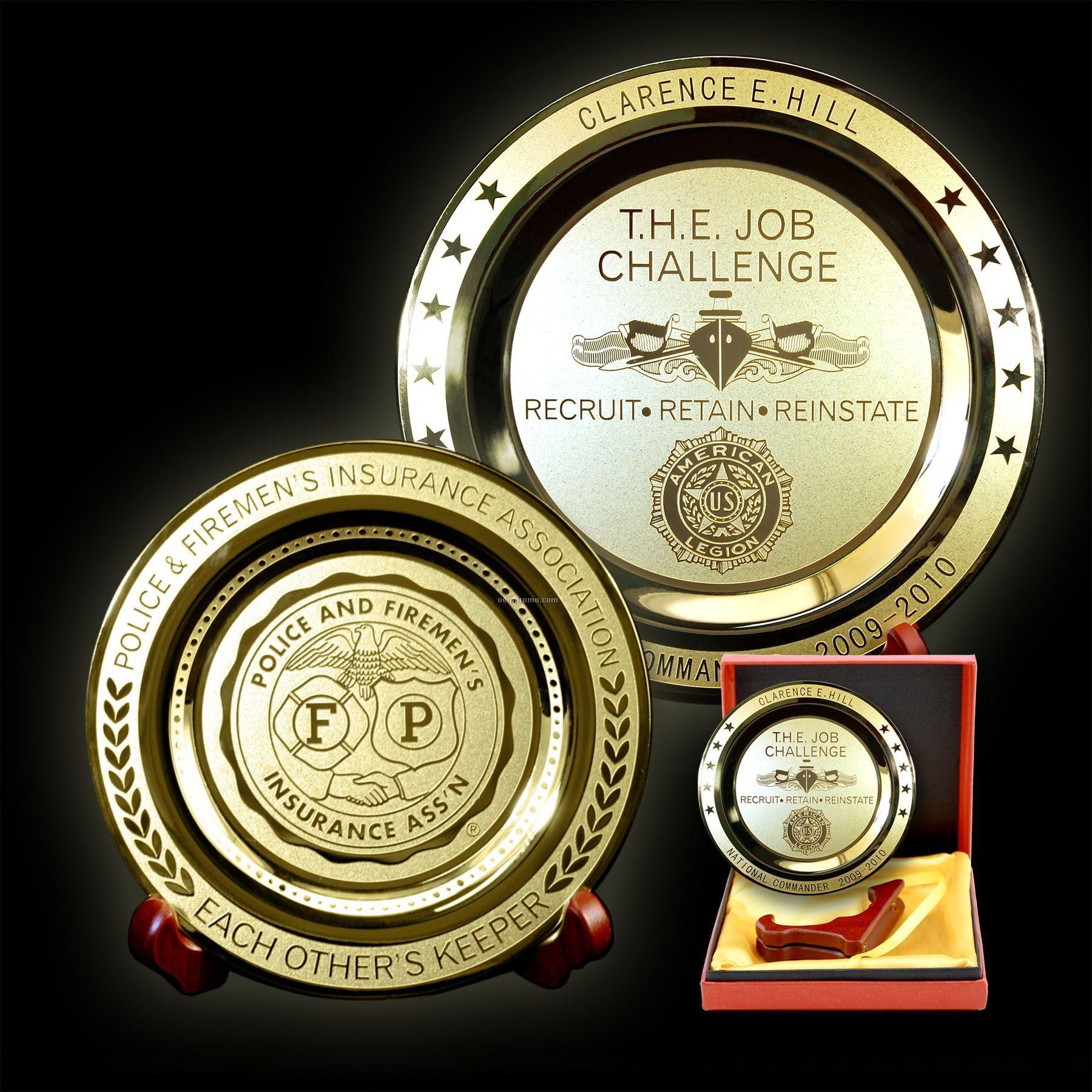 """Etched Brass Medallion Plates - 12"""" Round"""