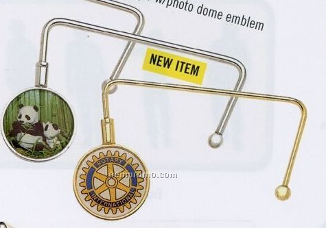 Purse Hanger With Photo Dome Emblem