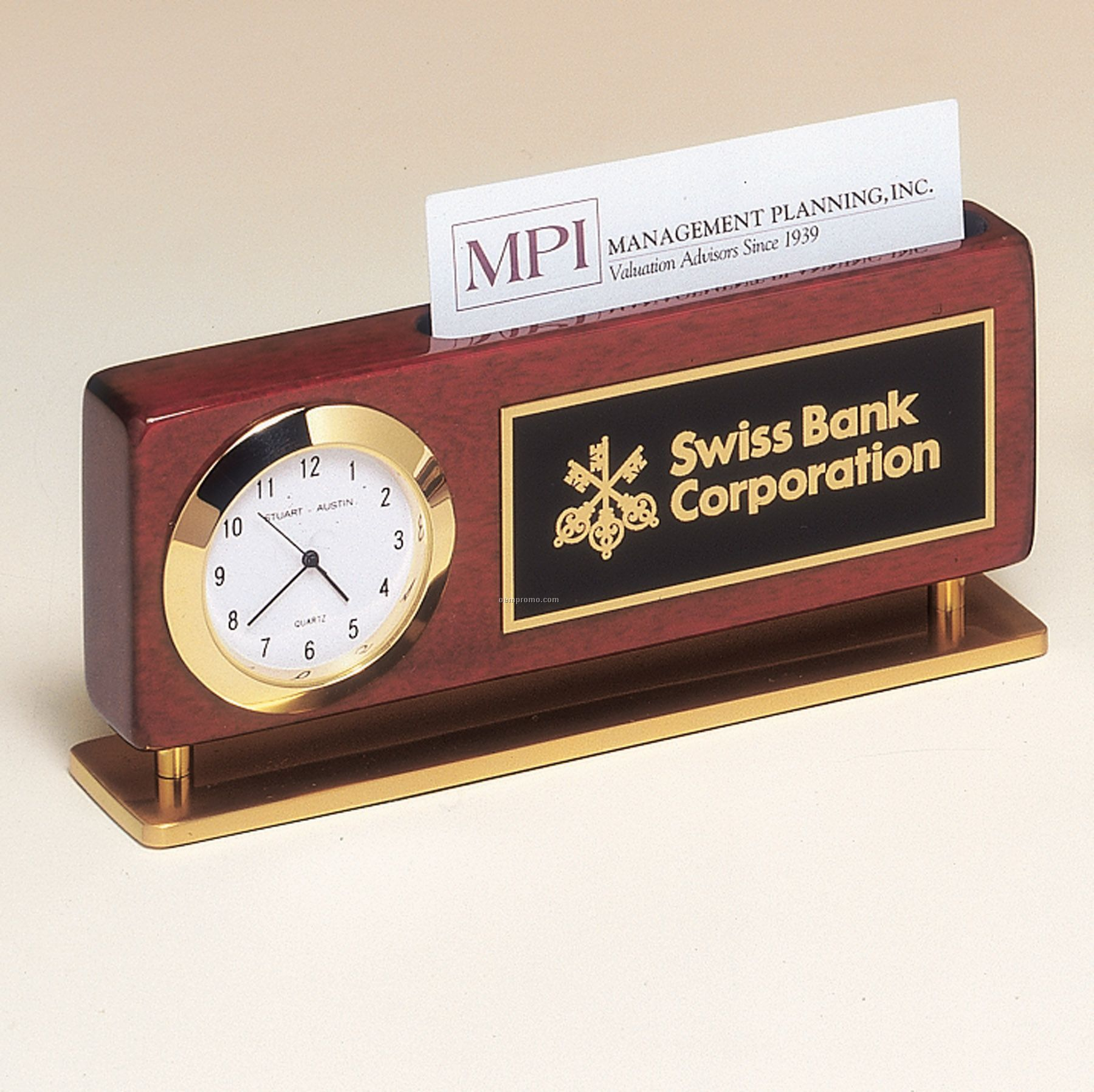Rosewood Piano Finish Clock With Business Card Holder