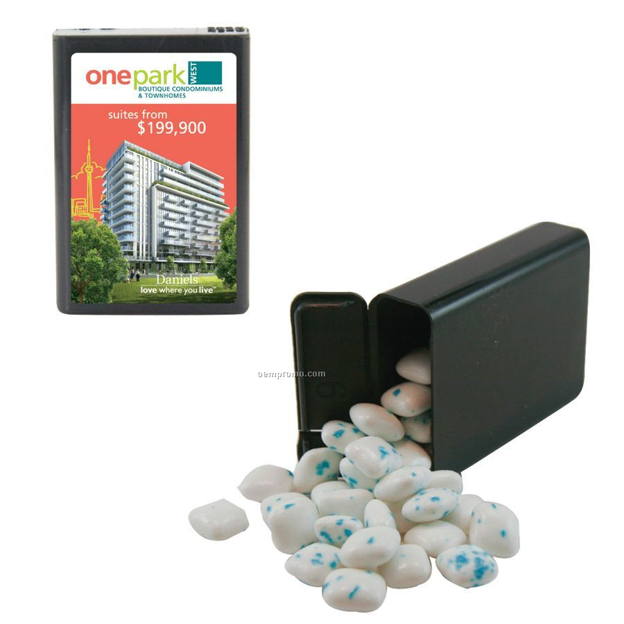 Black Refillable Plastic Mint/ Candy Dispenser With Sugar Free Gum