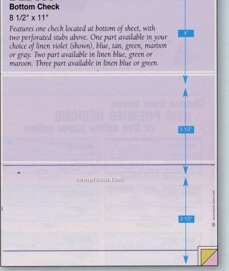 Blank Laser 1-on-a-page Check Stock - 1 Part (Bottom Check)