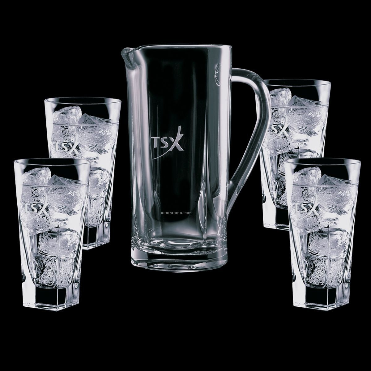 Chesswood Crystal Pitcher And 4 Hiball Glasses