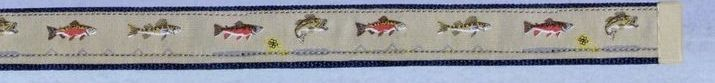 Embroidered Pattern Belt With Leather Tip (Freshwater Fish)
