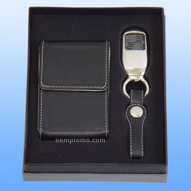 Gift Set W/LED Key Chain And Card Holder - Leather (Screen Printed)