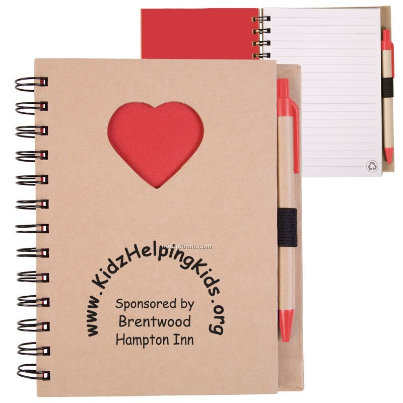 Recycle Die Cut Notebook: Heart
