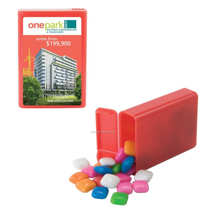Red Refillable Plastic Mint/ Candy Dispenser With Gum