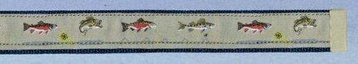 Embroidered Web Belt With Brass Or Silver Tip (Freshwater Fish)
