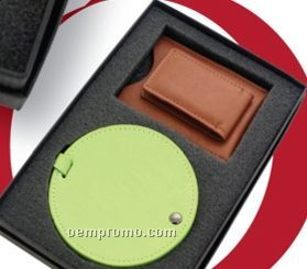 The Golfer - Magnetic Money Clip With Swivel Florentine Leather Luggage Tag