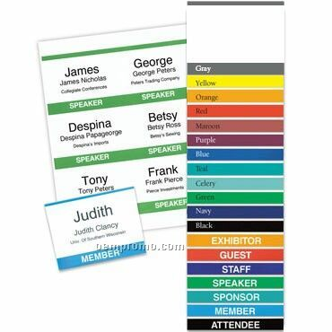 """Classic Name Tag Standard Title & Color Bar Paper Insert - Stock (4""""X3"""")"""