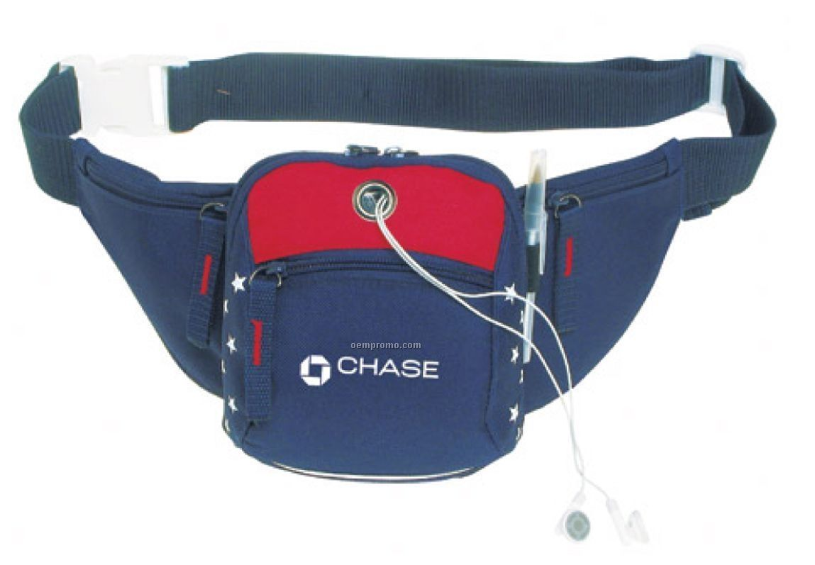 Us Patriotic On The Go Fanny Pack (In-stock) *closeout Price On 100+ Qty*