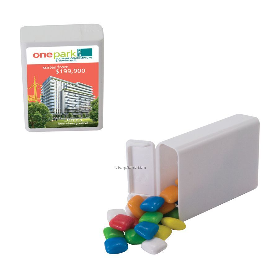 White Refillable Plastic Mint/ Candy Dispenser With Gum