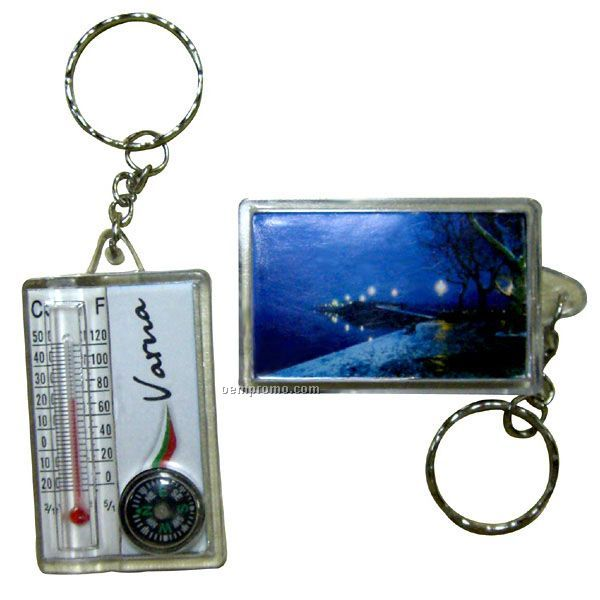 Key Tag With Thermometer And Compass