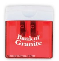 Translucent Red W/White Top Square Pencil Sharpener (Printed)