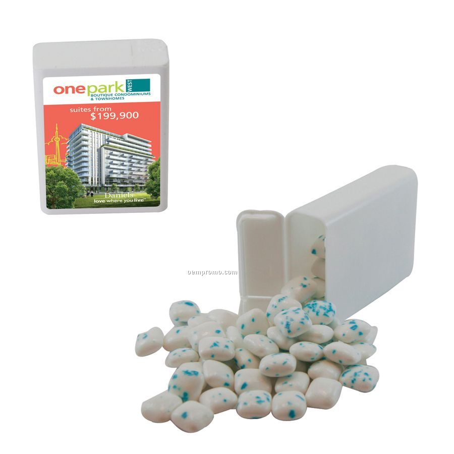 White Refillable Plastic Mint/ Candy Dispenser With Sugar Free Gum