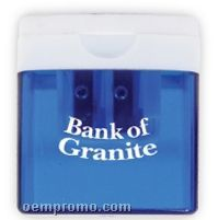 Translucent Blue W/White Top Square Pencil Sharpener (Printed)