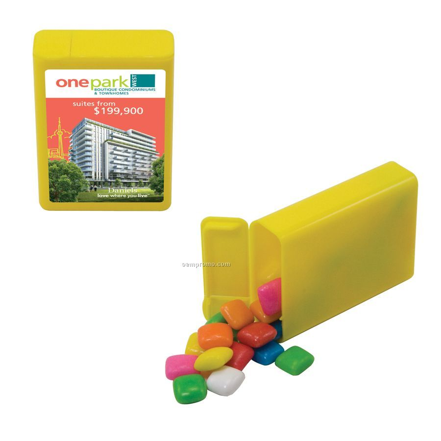 Yellow Refillable Plastic Mint/ Candy Dispenser With Gum