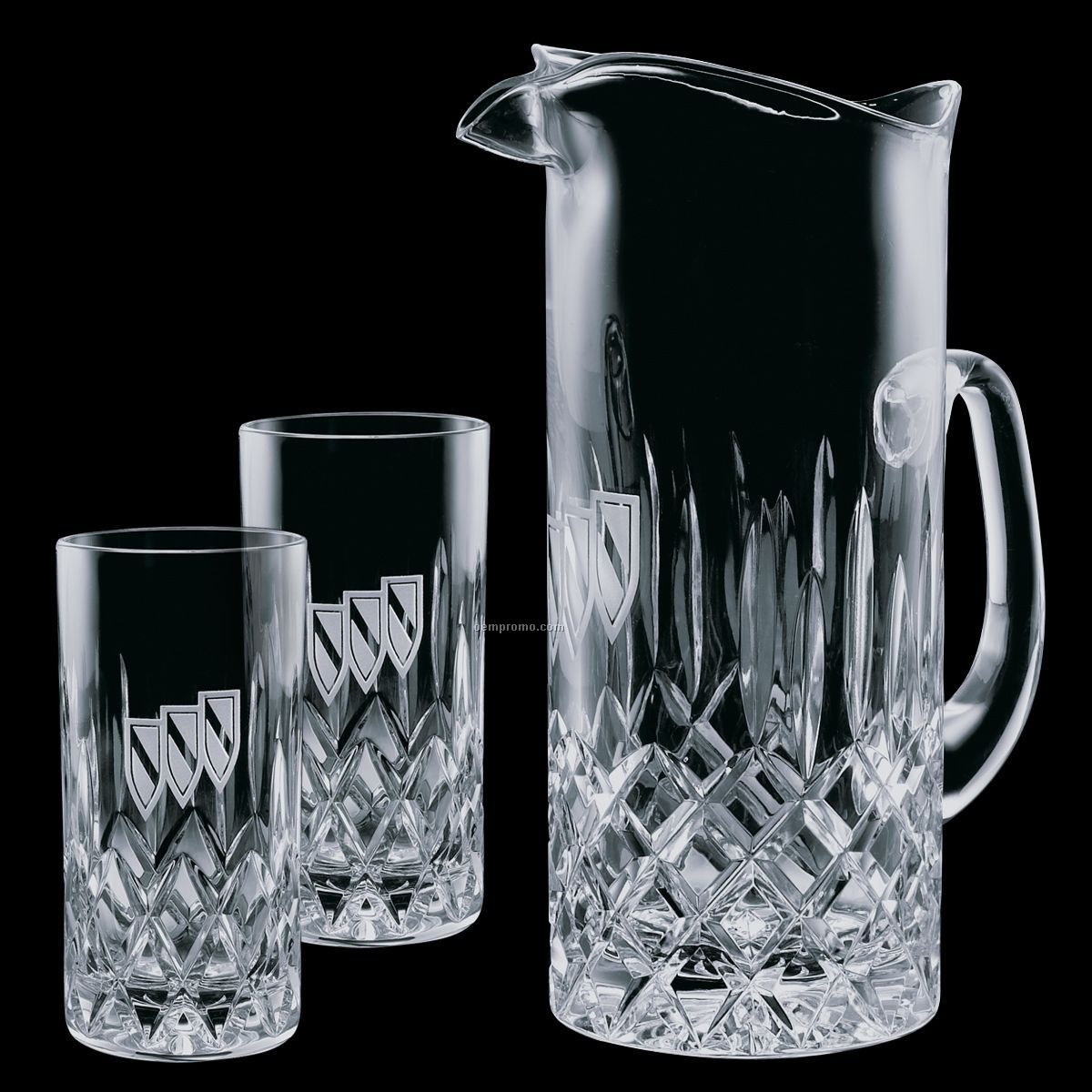 30 Oz. Crystal Denby Pitcher With 2 Hiball Glasses