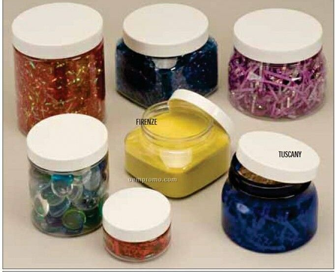 """4""""X2-3/4"""" Clear Pet Plastic Wide Mouth Round Tuscany Jar"""