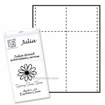 """Classic Name Tag Paper Insert - 1 Color (4""""X8"""" & 4""""X3"""")"""