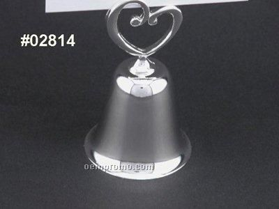 Silver Plated Heart Bell Place Card Holder