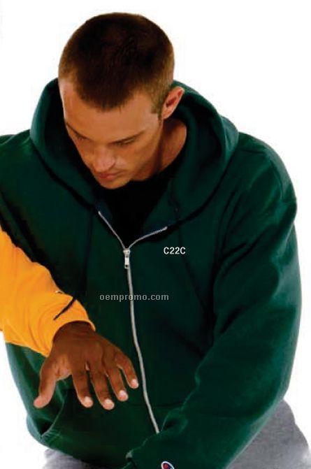 White Champion Adult 50/50 Full Zip Hooded Sweatshirt