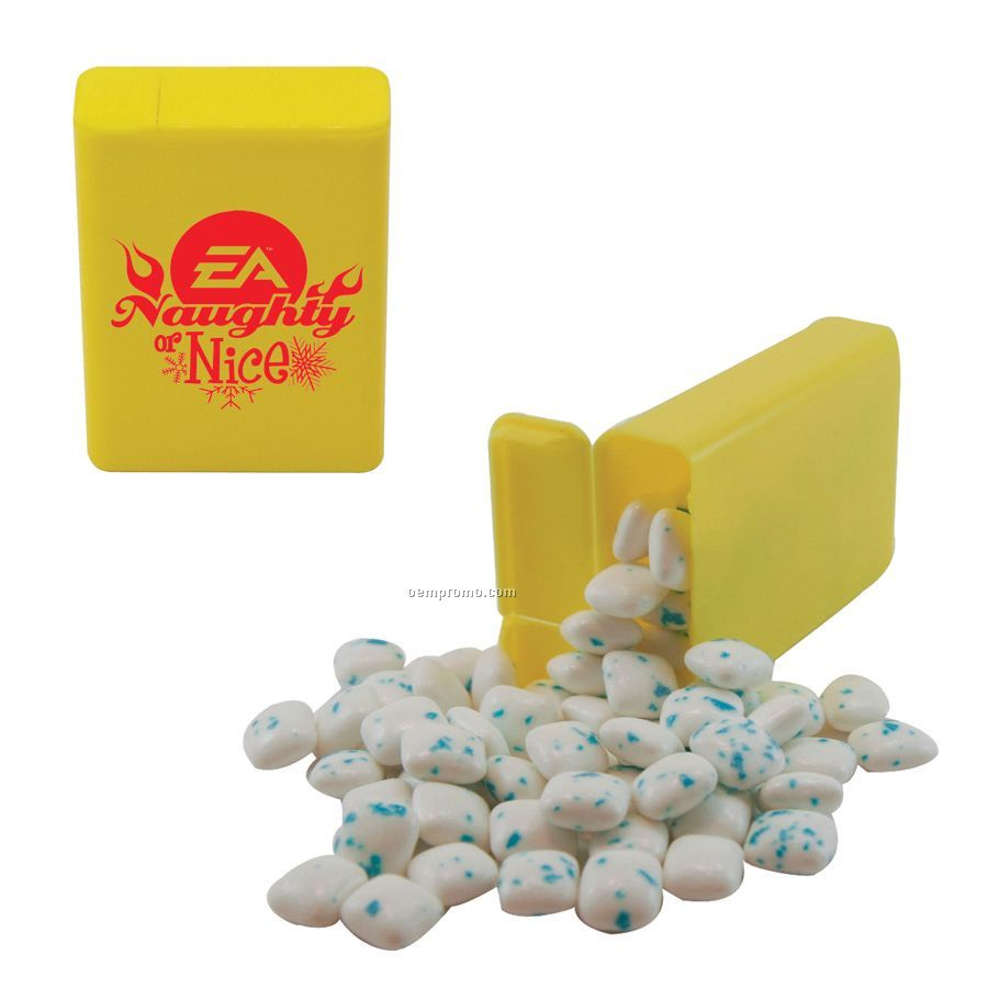 Yellow Refillable Plastic Mint/ Candy Dispenser With Sugar Free Gum