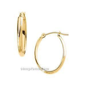 Ladies' 14ky 22-1/4x17 Half Round Tube Oval Hoop Earring