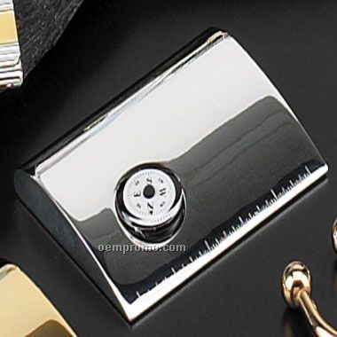 Silver Plated Metal Card Case W/ Clock