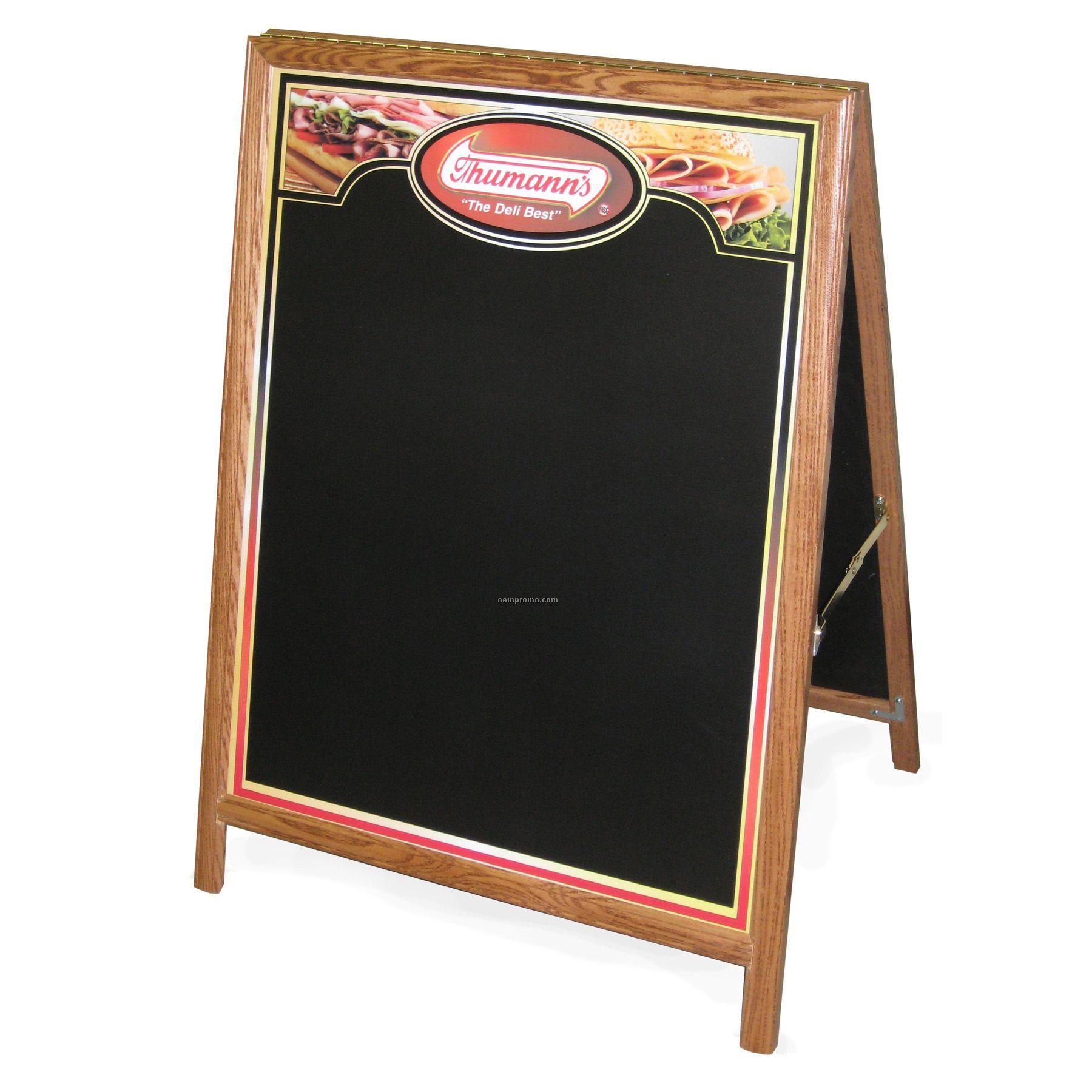 """Chalk Talker A-frame Chalk Board W/ Honey Oak Frame (24""""X39"""")"""