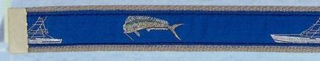 Embroidered Pattern Belt With Adjustable Leather Tip (Bull Dolphin)