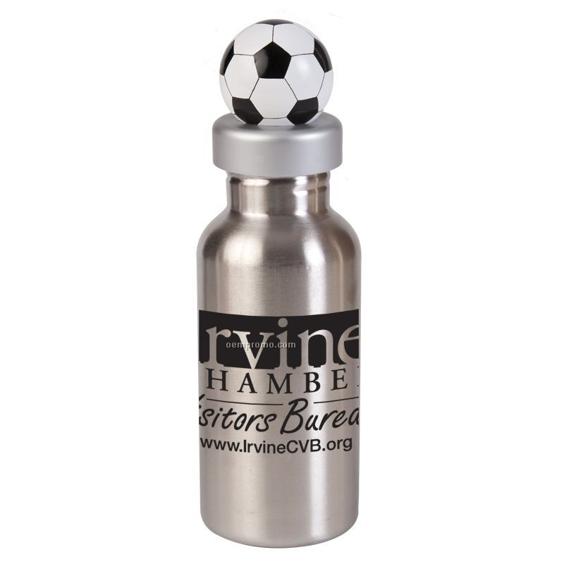 17 Oz. Stainless Steel Bottle W/ Soccer