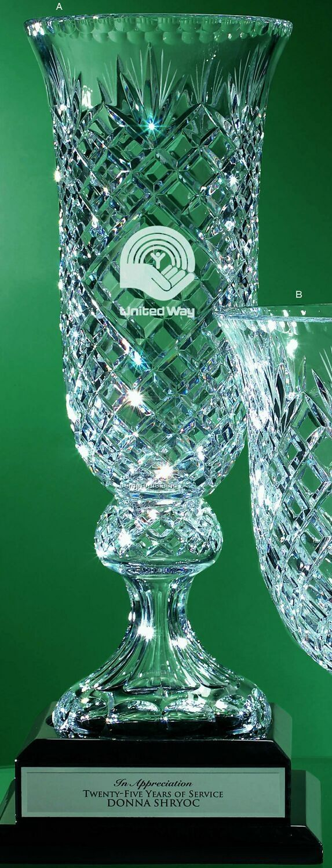 "24% Lead Crystal Tall Vase Award (18"")"
