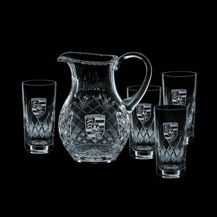 40 Oz. Medallion Crystal Pitcher & 4 Hiball Glasses