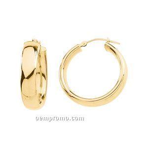 Ladies' 14ky 25mm Round Oval Tube Hoop Earring