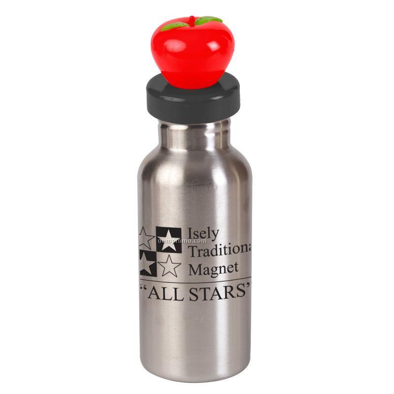 17 Oz. Stainless Steel Bottle W/ Apple Lid