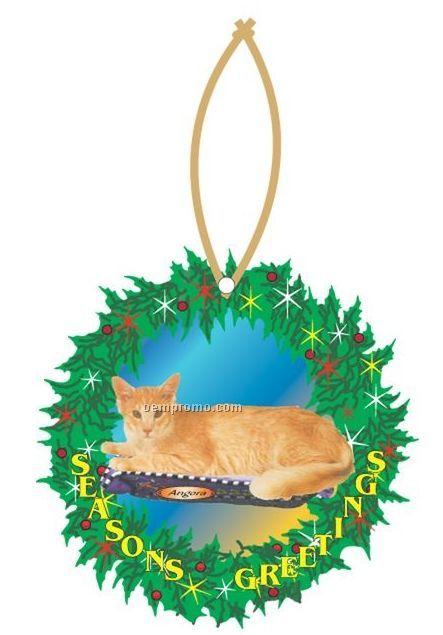 Angora Cat Executive Wreath Ornament W/ Mirrored Back (3 Square Inch)