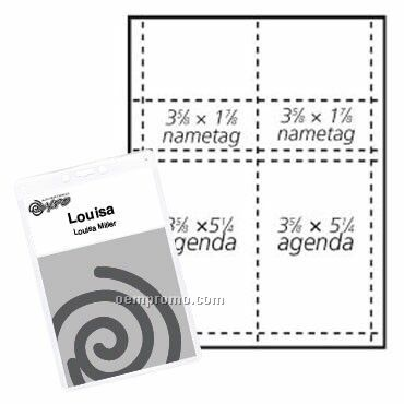 """Classic Name Tag Paper Insert - 1 Color (3 5/8""""X5 1/4"""" & 3 5/8""""X1 7/8"""")"""