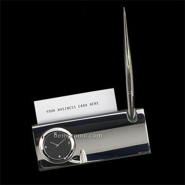 Silver Plated Business Card Holder W/ Clock-screened