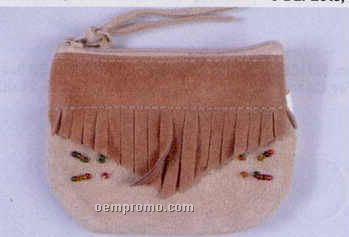 Zipper Top Leather Coin Purse W/ Beads & Fringe