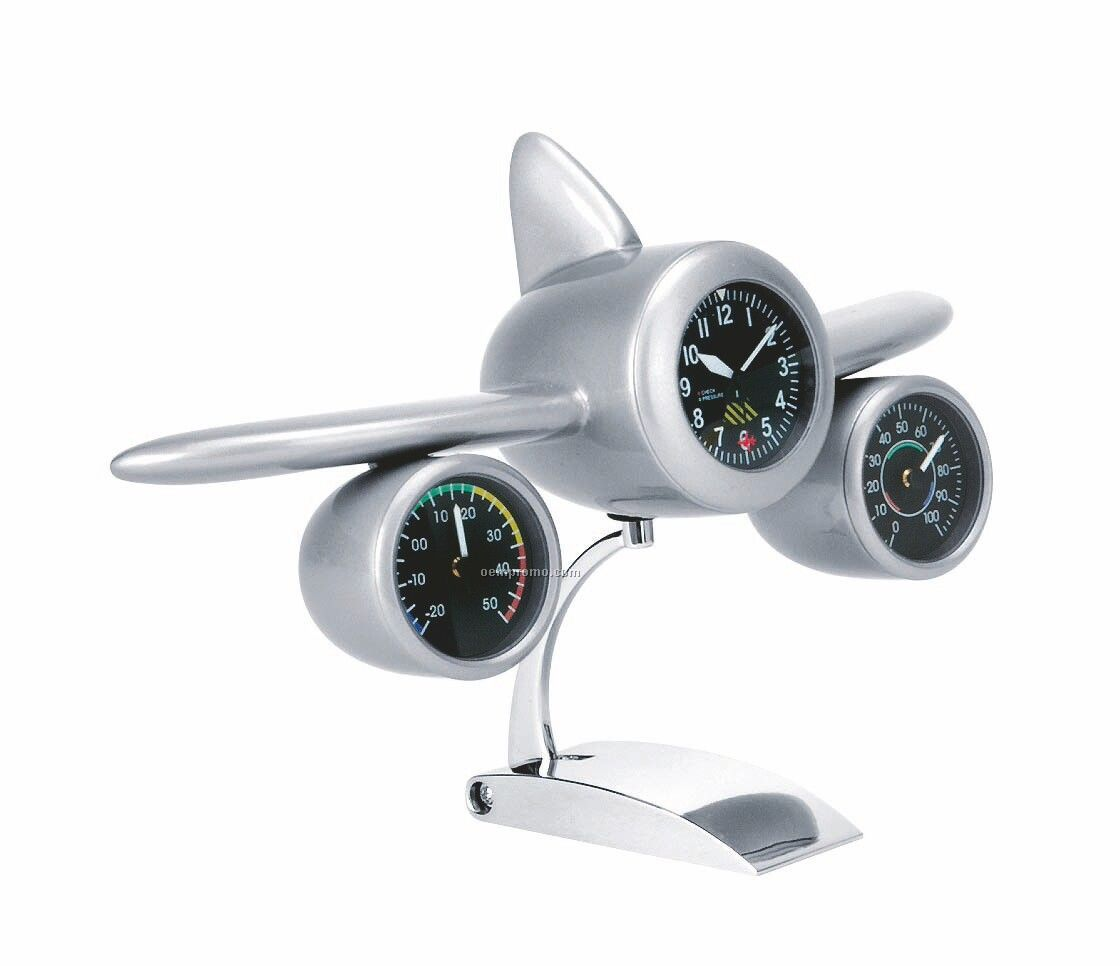 Jet Plane Weather Station Clock
