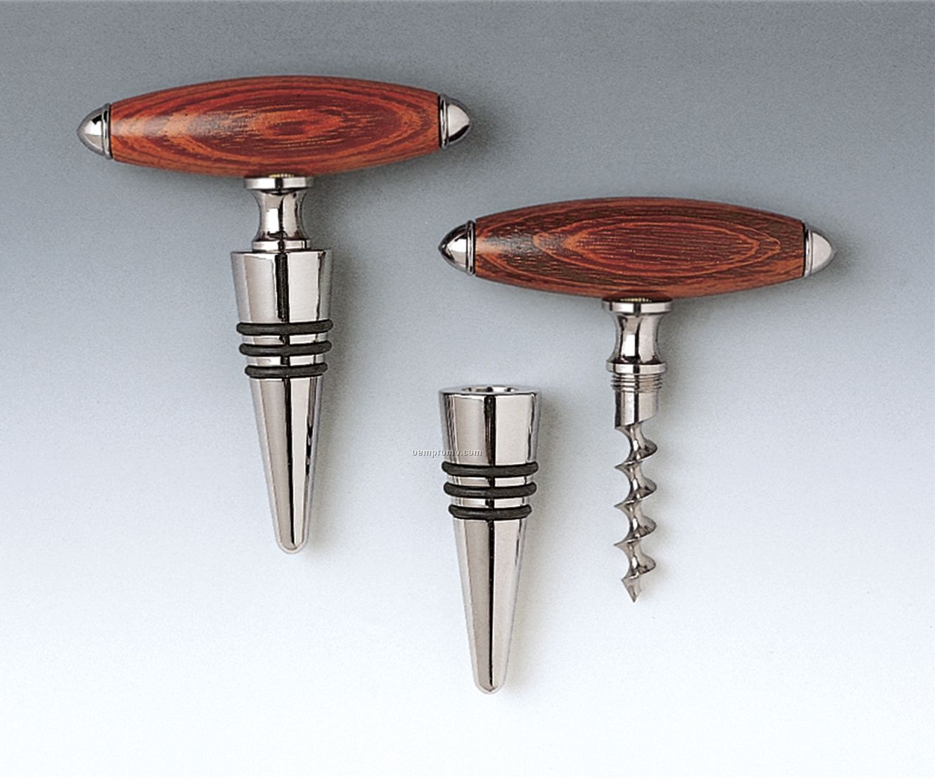 Rosewood Handle Corkscrew Cone/Stopper Combo